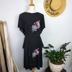 Vintage 70s Hibiscus Handkerchief Dress Medium